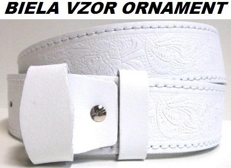 Opasky - biela koza vzor ornament