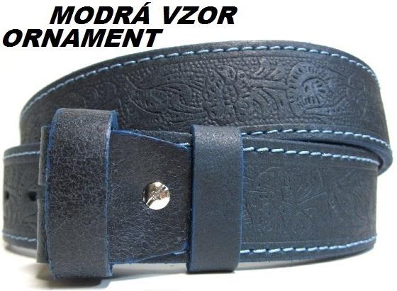 Opasky kozene - vzorkovnik modra vzor ornament